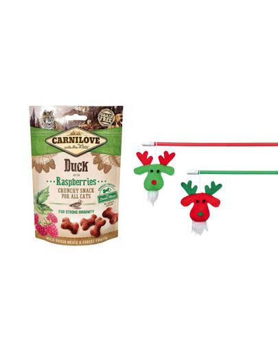 CARNILOVE SET Crunchy Snacks recompense pentru pisici, cu rata si zmeura 50 g + Trixie undita pentru pisica, 43 cm fera.ro