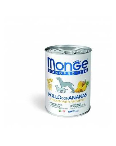 MONGE Fruit Dog Monoprotein hrana umeda pentru caini, cu pui si ananas 400g fera.ro