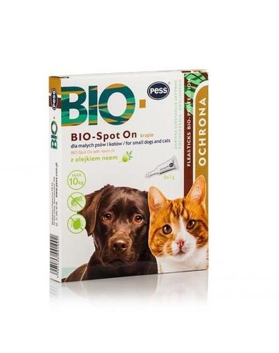 PESS BIO Spot-on picaturi protectie anti-capuse, purici pentru caini mici si pisici 4x1 g cu ulei de neem fera.ro