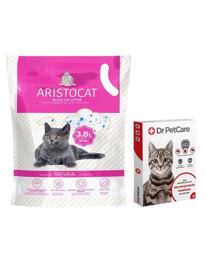 Dr PetCare MAX zgarda protectie pisici impotriva puricilor si a insectelor 43 cm + ARISTOCAT Nisip pentru litiera pisicilor, silica fara miros 3.8 L fera.ro