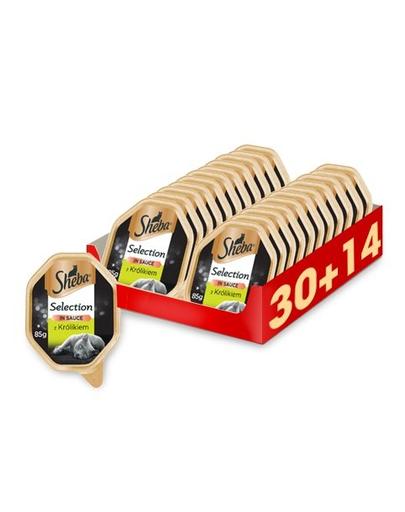 SHEBA Selection in Sauce hrana umeda pentru pisici, iepure in sos 44 x 85g (30 + 14 gratis) fera.ro