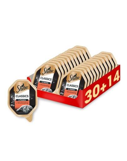SHEBA Classics in Pastete hrana umeda pentru pisici, pate cu vita 44 x 85g (30 + 14 gratis) fera.ro