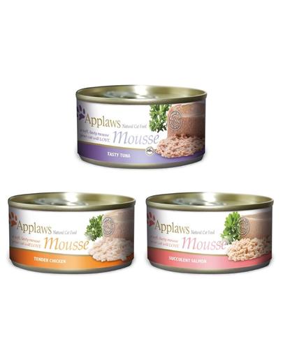 APPLAWS Cat Mousse hrana umeda pentru pisici Mix arome 70 g x 12 (10+2 GRATIS)