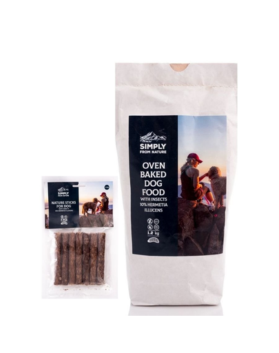 SIMPLY FROM NATURE Hrana uscata pentru caini, hipoalergenica, cu insecte 1,2 kg + Sticks recompense pentru caini, cu insecte 7 buc.