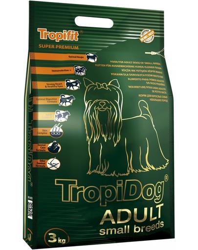 TROPIDOG Super Premium Adult S miel, somon si orez 3 kg hrana uscata pentru caini de rasa mica