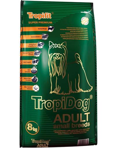 TROPIDOG Super Premium Adult S miel somon si orez 8 kg hrana uscata pentru caini de rasa mica